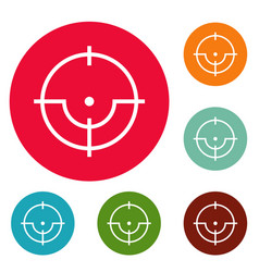 sniper icons circle set vector image