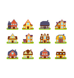 suburban houses and cottages set real estate vector image