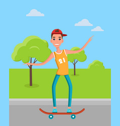 teenager skateboarding skater vector image