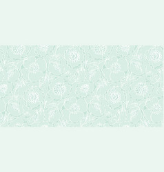 Tender mint green peony flowers pattern vector