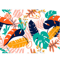 Tropical seamless leaves pattern vector