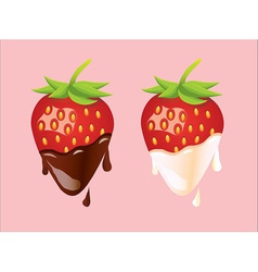 Two strawberries - cream and chocolate vector image