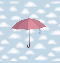 Umbrella over rain cloudy sky clouds pattern vector