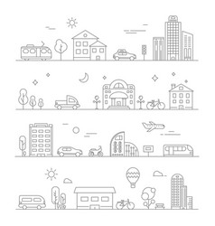 urban traffic linear transportation symbols vector image