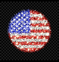 usa flag sparkling badge vector image