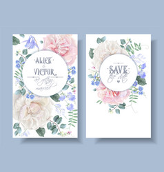 Vintage floral wedding cards with roses vector