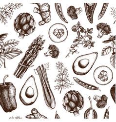vintage vegetables background vector image