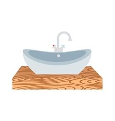 Washbasin bathroom cartoon flat vector