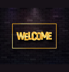 Welcome golden text in frame isolated vector
