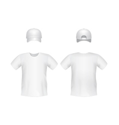 White blank t-shirt template with a cap vector