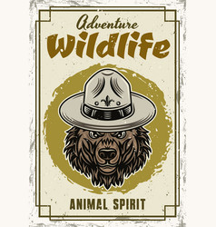 wild animal decorative poster with grizzly vector image