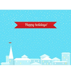 Winter background with the city vector image