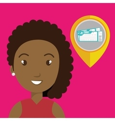 Woman pin travel location vector