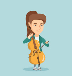 Young caucasian woman playing the cello vector