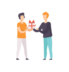 Young man giving gift box decorated with red vector