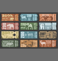 zoo park tickets with african and forest animals vector image