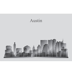 Austin city skyline silhouette in grayscale vector image