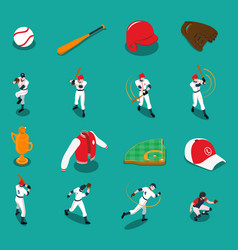 baseball isometric icons set vector image