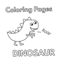 cartoon dinosaur coloring book vector image