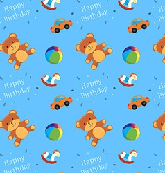 Children Toys Happy Birthday Pattern vector image vector image