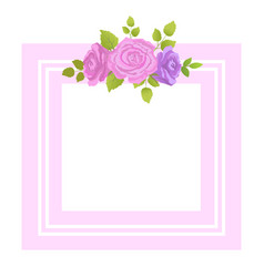 decorative border rose flowers with green leaves vector image