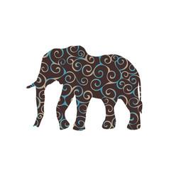 elephant mammal color silhouette animal vector image