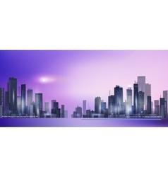 Modern night city skyline in moonlight vector image vector image