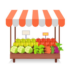 trade tent with fresh vegetables vector image