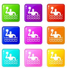 Water polo set 9 vector