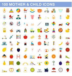 100 mother and child icons set flat style vector image vector image