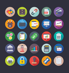 business office management finance icons vector image