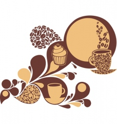 coffee and cake vector image