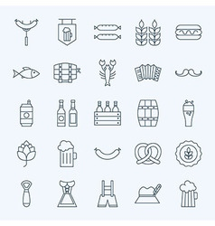 Line Holiday Oktoberfest and Beer Icons Set vector image