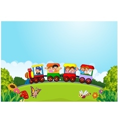 Cartoon happy kids on a colorful train vector image vector image