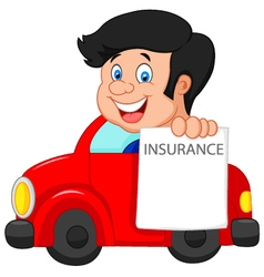Cartoon little boy notify to join insurance vector image