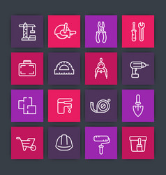 construction and renovation line icons set vector image