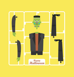 corpse of green zombie halloween character vector image
