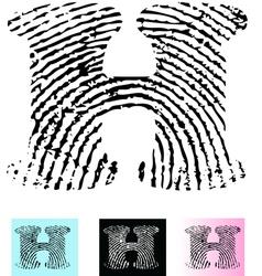 Fingerprint Alphabet Letter H vector image vector image