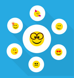 Flat icon expression set of pleasant delicious vector