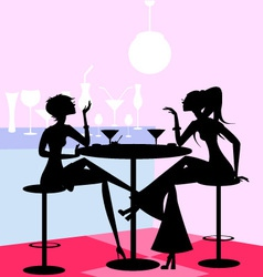 girls in the cafe vector image