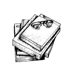 Hand drawn stack of books with glasses vector