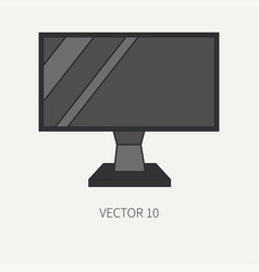 Line flat color computer part icon lcd vector