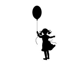 silhouette girl holiday hand balloon vector image
