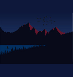 sun setting over mountain peaks dark landscape vector image vector image