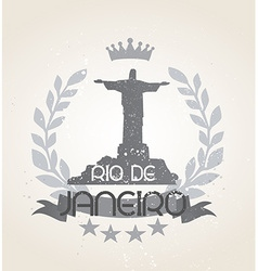 Grunge Rio de Janeiro icon laurel weath vector image