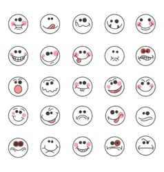 Hand drawn doodle emoticons vector image