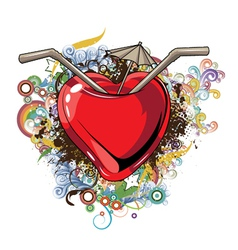 heart with floral vector image