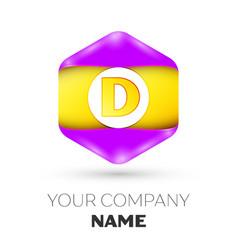 Letter d logo symbol in colorful hexagonal vector