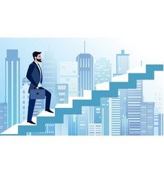 man rises in business steps vector image vector image