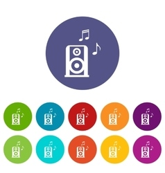 Portable music speacker set icons vector image